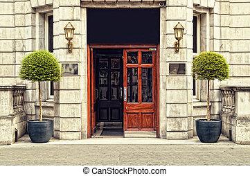 Front door of a hotel in London.