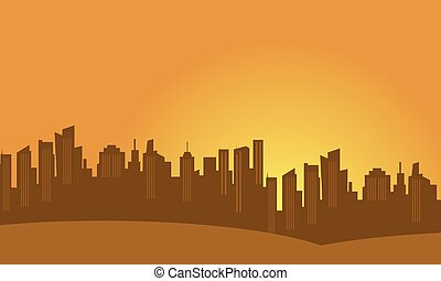 Silhouette of town city vector flat
