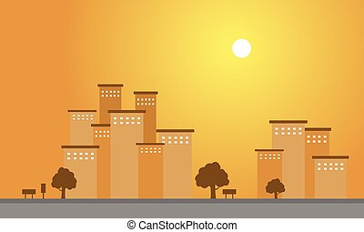 At sunset scenery building of silhouette