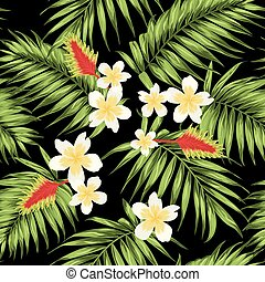 Tropical leaves and flowers seamless pattern