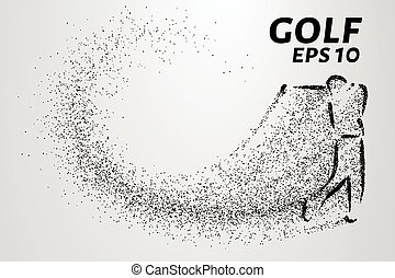 Golf of particles. Silhouette of a golfer is made up of little circles. Vector illustration