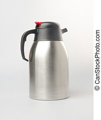 Thermo or Thermo flask from stainless stee on background -...