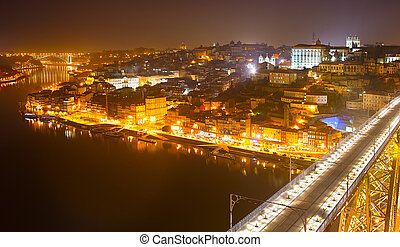 Night skyline of Porto, Portugal - Old Town of Porto at...