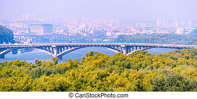 Metro bridge. Kiev, Ukraine - Subway train on Metro bridge...