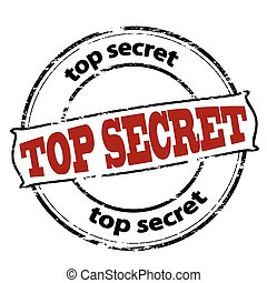 Top secret - Rubber stamp with text top secret inside,...