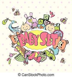 lindo, recién nacido, bebé, Conjunto