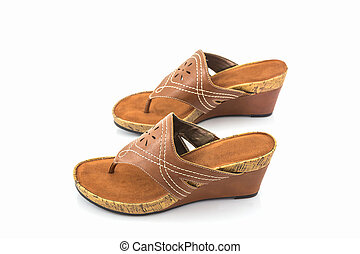 Brown womans shoes. - Brown womans shoes on white...