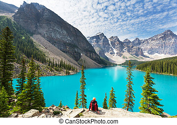 Moraine lake - Beautiful turquoise waters of the Moraine...