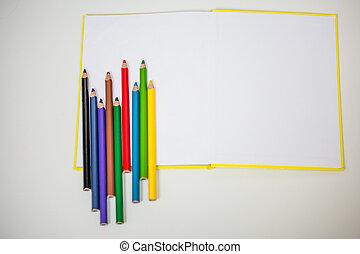all for children creativity, pencils, scissors, colored...