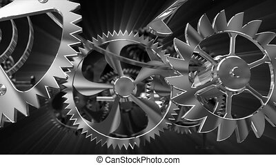 cogs in a clock gear mechanism - Time measurement symbol as...
