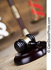 Judges wooden gavel and paragraph - Gavel court and...