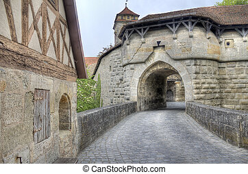 Rothenburg ob der Tauber, Germany - Medieval gate in the...