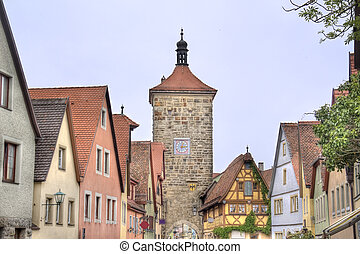 Rothenburg ob der Tauber, Germany - Tower and historical...