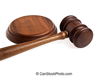 Wooden gavel on a white background
