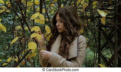 Beautiful girl, sad mood, autumn park - Beautiful girl, sad...
