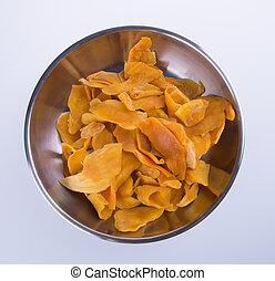 mango dry or dried mango slices on background - mango dry or...