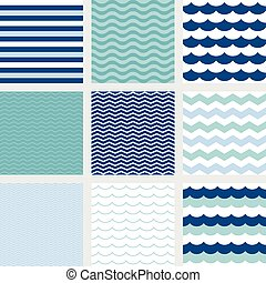 stripe, navy blue wave, zig zag pattern, fish scale pattern...