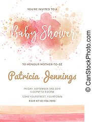 Gorgeous watercolor baby shower invitation, vector format