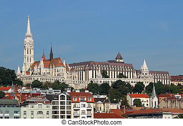 Fisherman towers and Matthias church Budapest Hungary