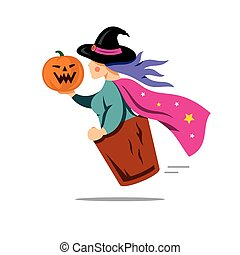 Vector Halloween Witch with pumpkin Cartoon Illustration. -...