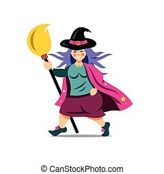 Vector Halloween Witch with broomstick Cartoon Illustration....