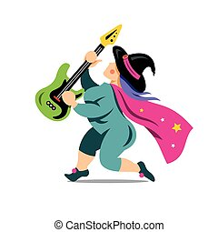 Vector Halloween Witch with rock guitar Cartoon...