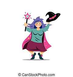 Vector Halloween Witch with magic wand Cartoon Illustration....