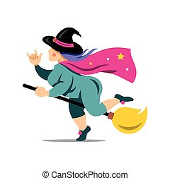 Vector Halloween Witch on a broomstick Cartoon Illustration....