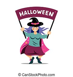 Vector Halloween Witch with festive banner. Cartoon...