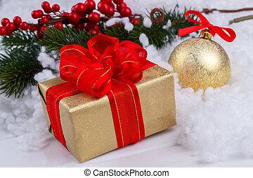 Christmas golden gift box