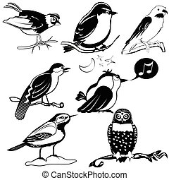 birds black collection - Vector black collection of...