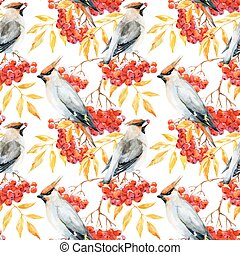 Watercolor waxwing and rowan pattern - Beautiful pattern...