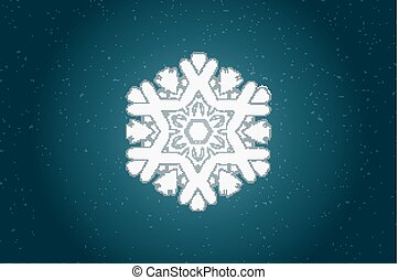 Vintage ornamental pattern. Lacy snowflake against grungy...
