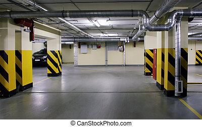 underground parking in house - Empty underground parking in...