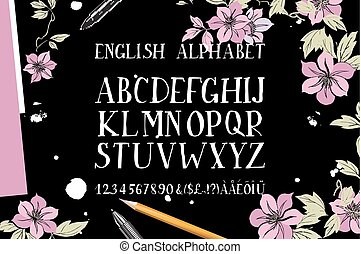 alphabet is a top view of the brush flowers - Hand drawn...