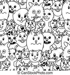 Cute cats colorful background - Cute cats Monochrome...