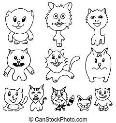 set of cute cat cartoon - Set of cute cat cartoon. Art...