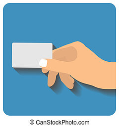Hand holding credit card - Flat style. Art illustration
