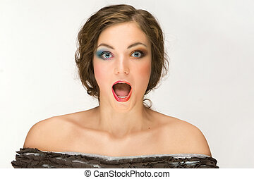 Woman With Open Mouth - A studio portrait of a woman with...