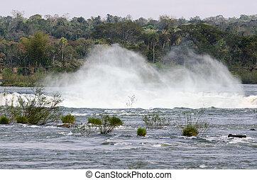 waterfall Iguacu in Brazil - waterfall Iguacu Falls in...