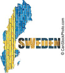 Sweden map on a brick wall