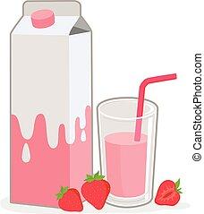 Strawberry milk - Vector Illustration of a milk carton, a...