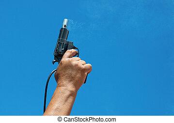 Starter - Hand firing a gun for starting race