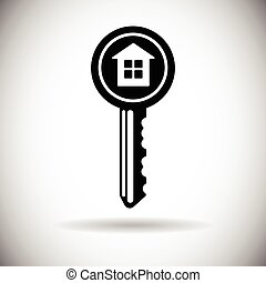 House Key Web Icon Safety Concept Flat Vector Illustration