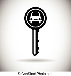 Car Key Web Icon Safety Concept Flat Vector Illustration