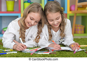 girls on lesson of art - Portrait of a cute girls on lesson...