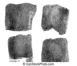 Set of fingerprint on white background