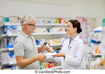 pharmacist and senior man buying drug at pharmacy -...