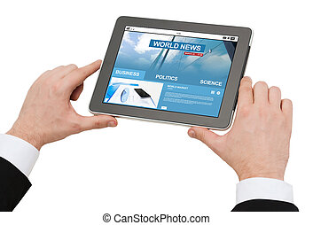 close up of hands with business news on tablet pc