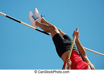 Athlete pole vault with